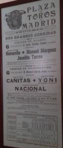 Affiche d'une novillada lidiée à Madrid par Paco Coquilla