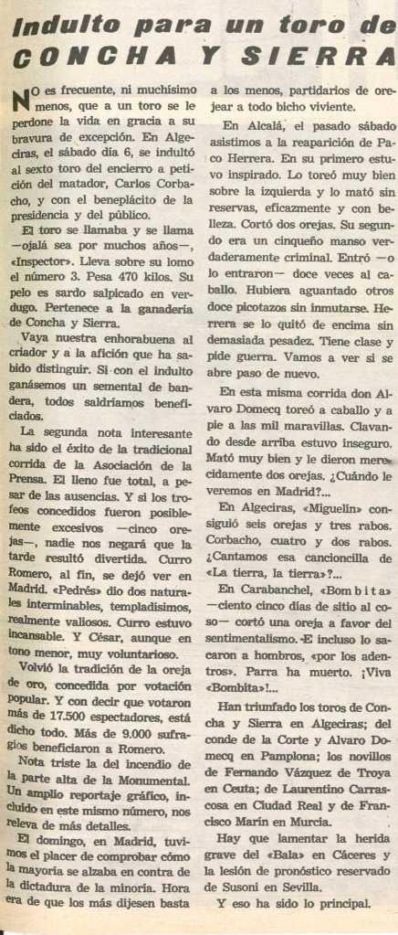 Cronica del indulto de Inspector-3, de Concha y Sierra