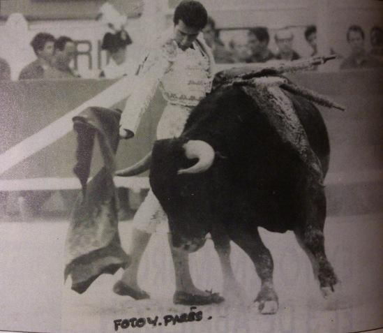 Enrique Ponce toreando al buen Jaquerito-22 de Sepulveda, en 1994 en la plaza de toros de Arles. Fotografia de Yvon Pares.