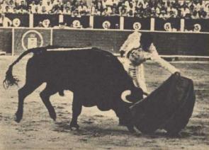 De nuevo con Sepulveda, en su tierra de Albacete, Damaso Gonzalez triunfa en 1971, cortando tres orejas y un rabo. Fotografia El Ruedo.