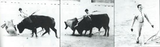 Tres instantáneas del rotundo triunfo de Espartaco en Pamplona en 1992 ante toros de Sepulveda. Fotografias publicadas en Courrier de Ceret.