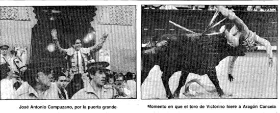 Salida a hombros de José Antonio Campuzano y percance de Cancela.